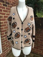 Womens Vintage Mandal Bay Cardigan Sweater Brown Football Embellished Medium M