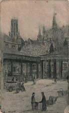 WALTER EDWIN LAW Signed Etching CHURCH TOWER TOWN SQUARE c1900