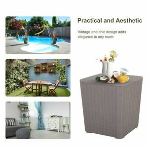 50L Outdoor Rattan-Effect Lift-Top Bar Tea Table Grey Garden Storage weather res