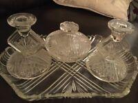 Art Deco Pressed Glass Dressing Table Set V Stylish