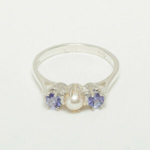 925 Sterling Silver Full Pearl Tanzanite Womens Trilogy Ring - Sizes J to Z