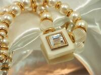 Faux Pearl Mellow Gold Tone Chunky Lucite Vintage 1970's X Showy Necklace 723o9