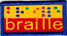 """BRAILLE"" - IRON ON EMBROIDERED PATCH - SKILL - SPEAKING - SYMBOL"