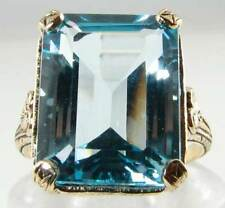 LARGE 9K GOLD 15mm x12mm NATURAL BLUE TOPAZ OCTAGON ART DECO INS RING FREE RESIZ