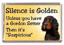 """Gordon Setter Dog Fridge Magnet """"Silence is Golden .."""" by Starprint"""