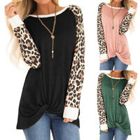 Women's Leopard Print Long Sleeve T-Shirt Casual Twist Knot Blouse Top Basic Tee