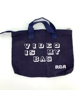 Vtg 80's 90's Video is my Bag RCA Small Blue Handled Zippered Canvas Tote Bag