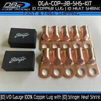 "10 1/0 Gauge 3/8"" Hole Copper Ring Terminal 0GA Lug Battery Stinger Heat Shrink"