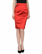 D&G Red Satin Stretch Straight/Pencil Skirt Size : IT44/US8