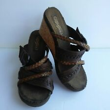 Womens Skechers Brown Leather Strap Cork Wedge Heels Shoes Size 6
