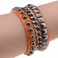 Multilayers Rock Spikes Rivet Chains Punk Cuff Leather Bracelet Bangle Fashion