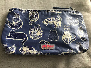 Cath Kidston Make Up Bag Blue With Cat Pattern