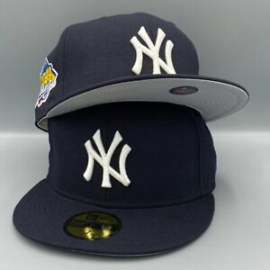 New York Yankees World Series 1999 59FIFTY New Era Navy Blue Fitted Cap Gray Bot