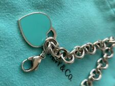 Tiffany & Co. Round Link Bracelet 7 inches Sterling Silver Blue Enamel Heart Tag