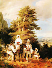 """oil painting handpainted on canvas """"Romanian Family Going to the Fair """"@NO7940"""