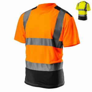 Profi Warnschutz T Shirt kurzarm Arbeitsshirt Arbeitshemd Warnkleidung S-XXL