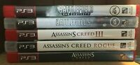 PS3 Playstation 3 ~ 5 Game Lot! Battlefield x2 Assassin's Creed x3 FREE SHIP!!