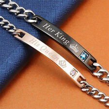 """Lover Couple Bracelets His And Her """"Her King His Queen"""" Titanium Steel Bracelet"""