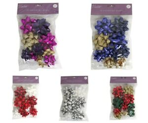 10 ASSORTED BOWS SELF ADHESIVE MERRY CHRISTMAS XMAS PRESENT GIFT WRAPPING DECOR