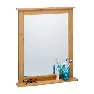 Wandspiegel Bambus Badspiegel mit Ablage Spiegel zum Aufhängen Schminkspiegel