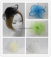 Feather Hair Clip Fascinator Hat Bridal Lady Derby Tea Party Church Hat Headwear