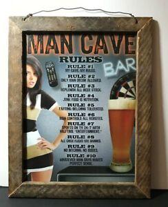 "Desperate Enterprises Man Cave Rules Tin Sign 12.5""  x 16""  Ready To Hang/Enjoy"