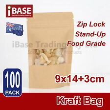 100x Stand Up Bag Kraft Paper Seal Packaging Window Zip Lock Pouch Sealing Small
