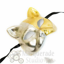Men Unisex Lucky Cat Two-Face Costume Theater Masquerade Mask [Silver/Gold]
