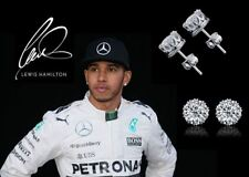 Men's/Boy's: Lewis Hamilton 18ct White Gold Cubic Zirconia 8mm Crown Earrings