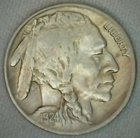1924 Buffalo Indian Head Nickel 5c US Coin Five Cents XF Extra Fine K57