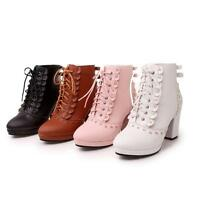 Lolita Women's faux  Leather Shoes High Heels Lace Up Ankle Boots AU All Size