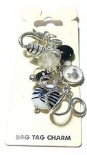 Disney Parks Exclusive Black and White Mickey Head & Stones Purse Bag Charm Tag