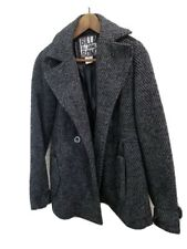 Billabong Black Gray Pea Coat Jacket Double Breasted Size L Womens Wool Peacoat