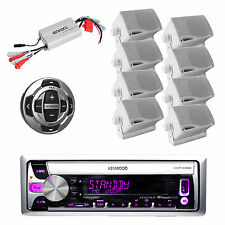 Marine KMRD368 MP3 USB CD Pandora Radio,Amp,8x White Box Speakers,Wired Remote