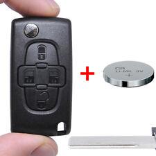 B Klapp Schlüssel Gehäuse +Batterie 4 Tasten Rohling HU83 Funk Citroen Peugeot