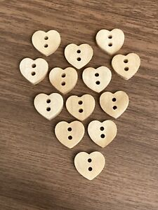 Wooden Heart Buttons 11mm x 11.5mm Pack Of 10