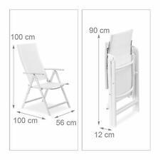 Relaxdays Chaise de Jardin en alu pliable Métal avec Dossier Réglable Balcon H