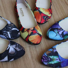 Women Flat Loafers Butterfly Print Dolly Boat Shoes Casual Loafers Size 4-8.5 AU