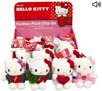 HELLO KITTY PLUSH BAG CLIP WITH SOUND EFFECTS 11CM TYPE 2 - X1 SUPPLIED - NEW