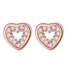 PRETTY SMALL 18K GOLD PLATED GENUINE AUSTRIAN CRYSTAL HEART STUD EARRINGS