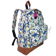 Backpack Rucksack Bag Women Ladies Girls Retro Vintage Print Canvas School Gym