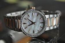 Rotary Womens Mother of Pearl Face Watch Date Crystal Bezel w/Box Swiss Made
