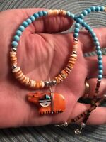 """#1360 Zuni Spiny Oyster Carved Bear Turquoise Heishi 18 1/2"""" Necklace Silver 925"""