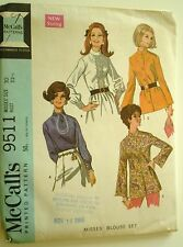 Pattern McCall's Blouse Pattern Vintage Size 10 Bust 32 1/2 Four Versions Used