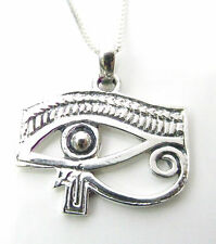 Funky 925 Sterling Silver Eye Of Horus Pendant with 18 inch silver box Necklace