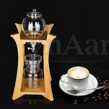 Home Cold Brew Water Ice Drip Dutch Coffee Maker Portable Bamboo Glass Dripper