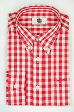 Art Gallery Clothing - Long Sleeve Fitted Shirt- Red Gingham L Mod Sixties