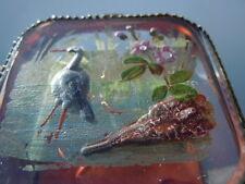 Boite coffret à bijoux décor émaillé peint sur verre d'époque Napoléon III 19ème