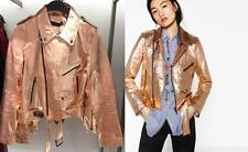 ZARA SOLDOUT Rose Gold Metallic Real Leather Biker Jacket With Zip Studded S-M