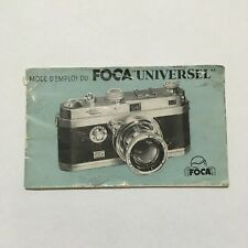 EARLY INSTRUCTIONS MANUAL IN FRENCH FOR FOCA UNIVERSAL CAMERA-FREE SHIP